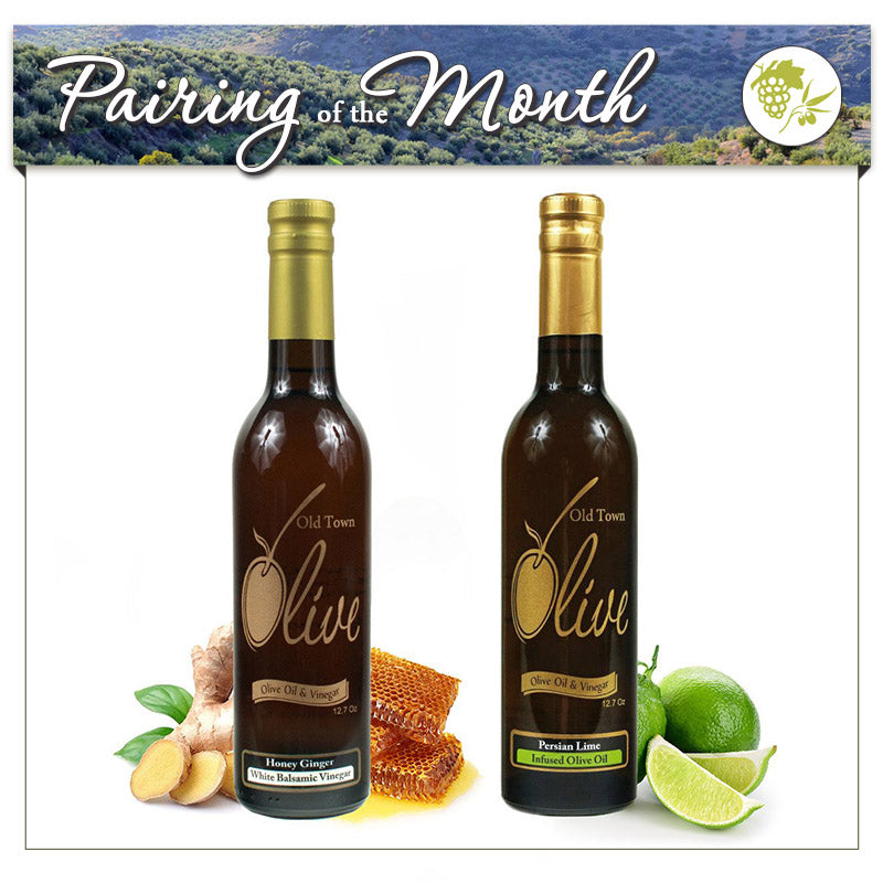 Honey Ginger White Balsamic Vinegar Condimento & Persian Lime Infused Olive Oil