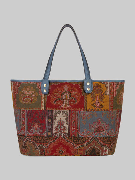 Etro Shopper Bag Reversible - Gold/Blue/Red/Green