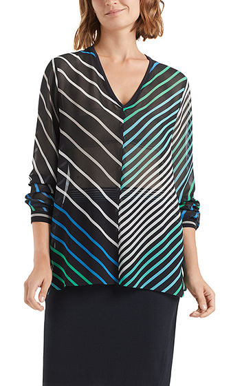 Marc Cain Blouse - Navy/White/Green