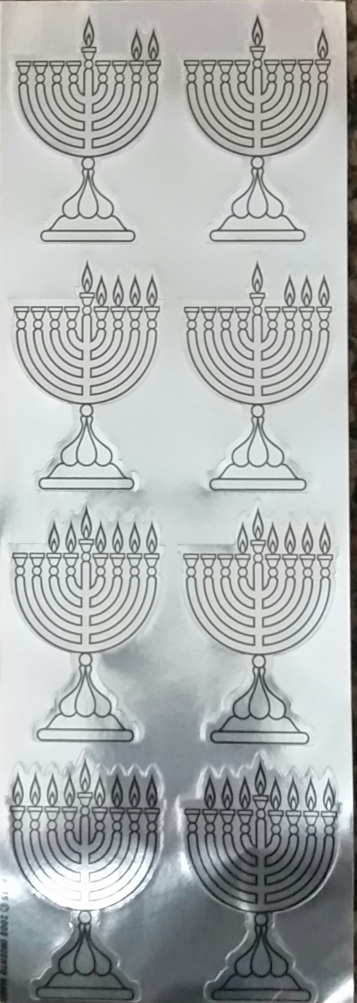 #6035S -  Menorah Die Cut Stickers - Silver