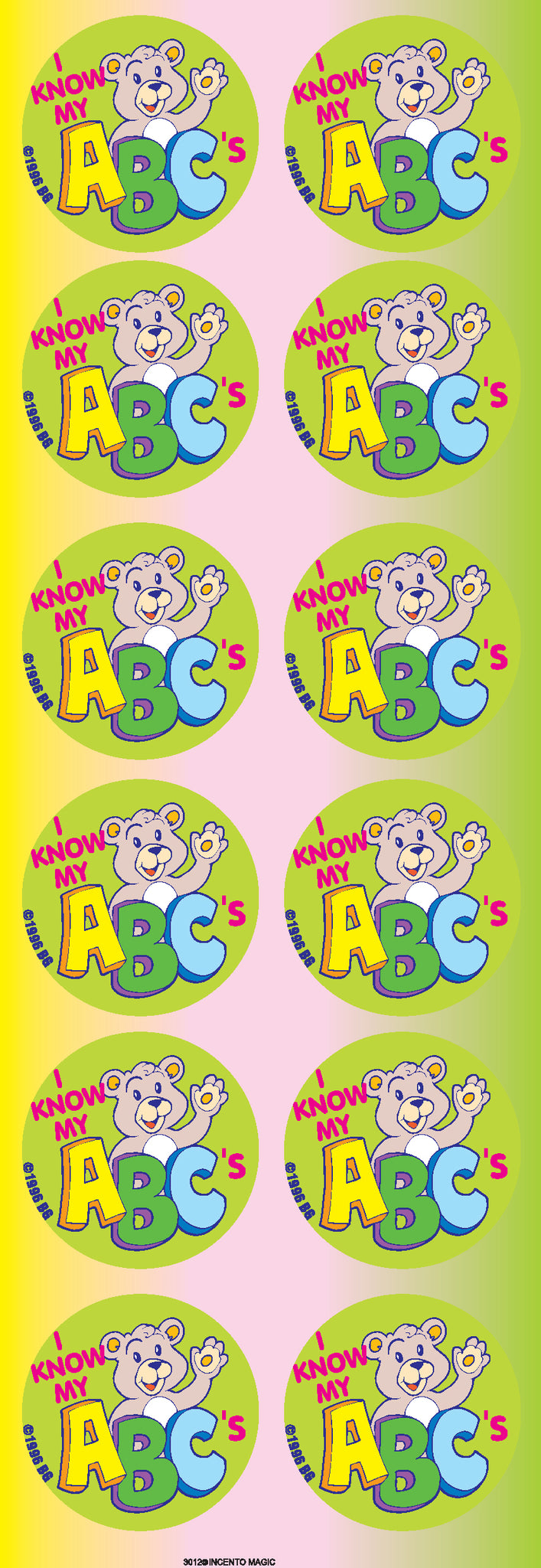 #3012 I Know my ABC's Jumbo Dot Stickers