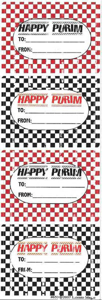 #653 Checkoboard Happy Purim Purim-Mishloach Manos Labels - Incento Magic - 1