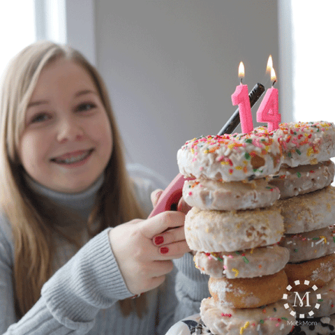 Mom Hack Doughnut Tower Cake with Candles