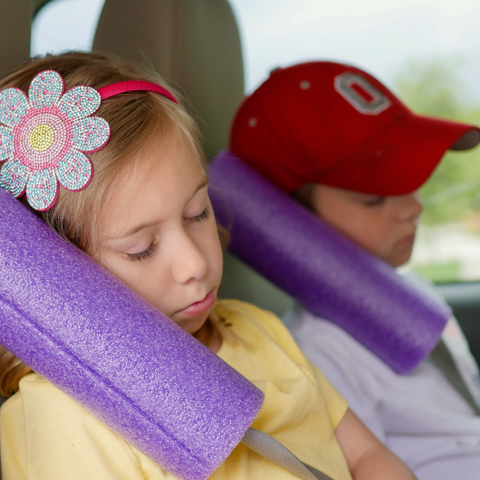 Pool noodle head rest for road trips