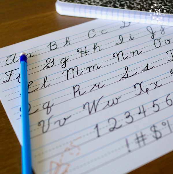 Homework Helper: Cursive Writing Practice Sheets-Organization Tools-MeckMom