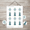 LDS Baptism Decoration Cupcake Toppers/Stickers - Green Blue-Decorations-MeckMom