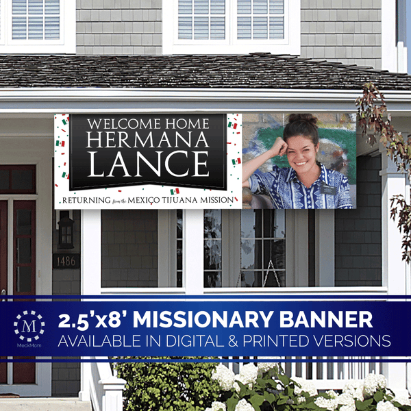 Missionary Welcome Home Banner: Horizontal Confetti Design-Banner-MeckMom