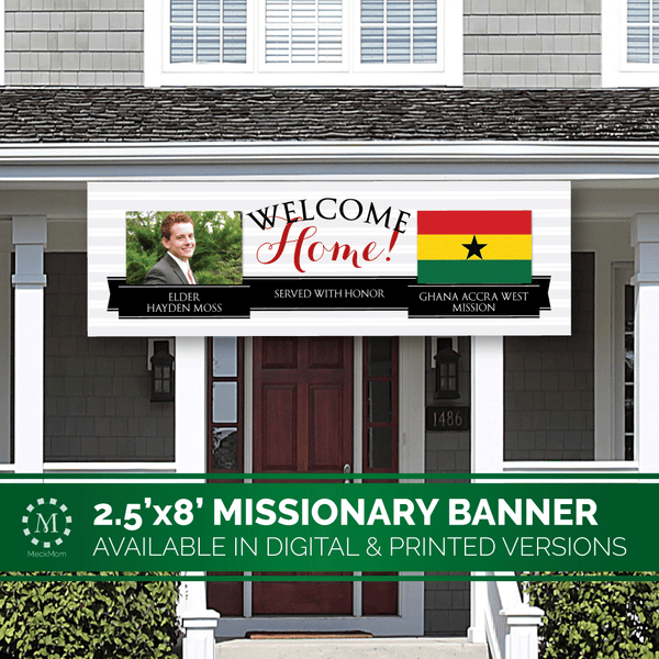 Missionary Welcome Home Banner: Horizontal Ribbon Design-Banner-MeckMom