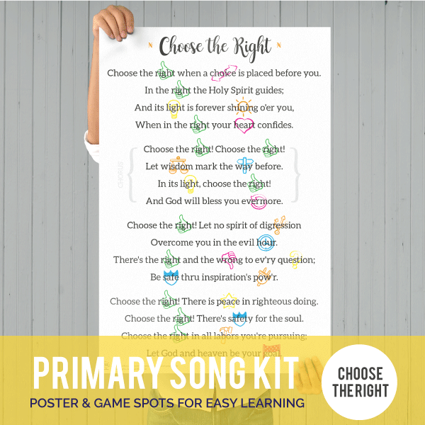 Primary Song Kit: Choose the Right (FEBRUARY 2017)-Games-MeckMom