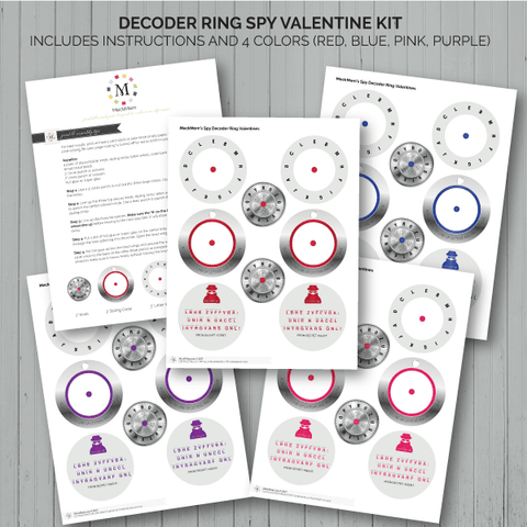 MeckMom Spy Decoder Ring Valentine Multicolor