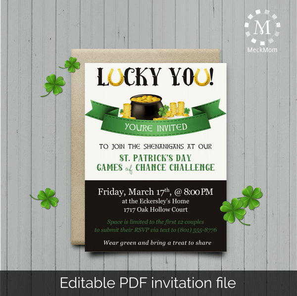 St. Patricks Party Editable Invitation-Party Kits-MeckMom