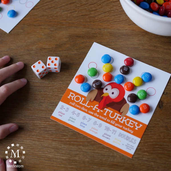 Thanksgiving Kids Table Game: Roll A Turkey-Games-MeckMom
