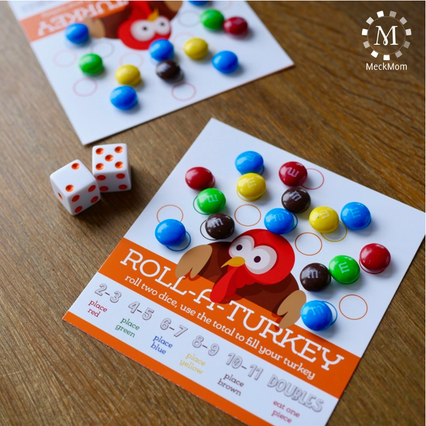 Thanksgiving Kids Table Game: Roll A Turkey
