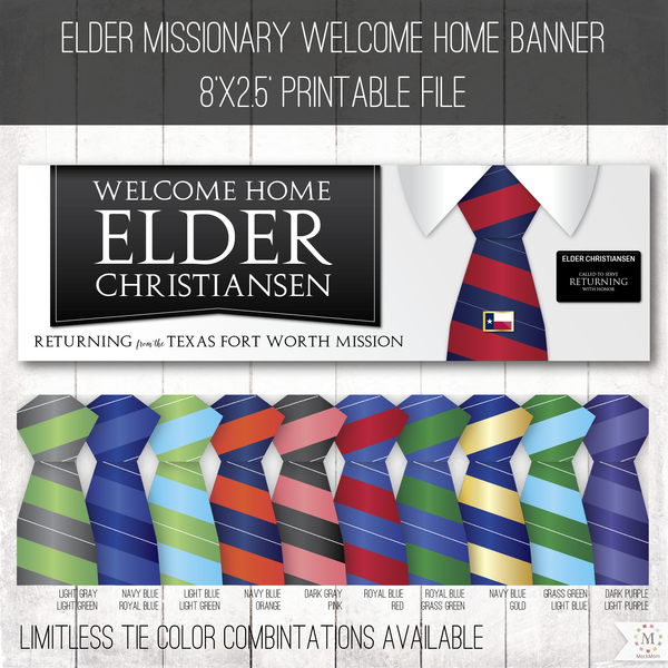 image regarding Welcome Home Banner Printable referred to as Missionary Welcome Property Banner: Horizontal Tie Design and style for Elders
