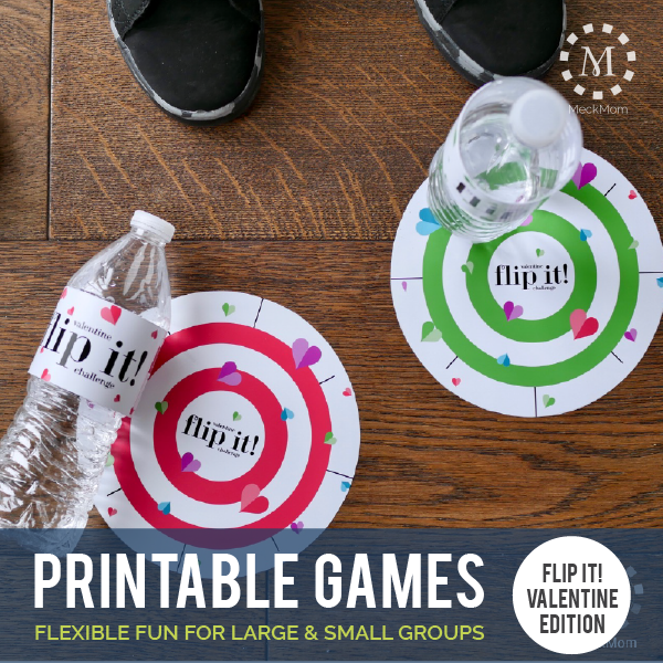 Valentine Party Game: Flip It! Valentine Water Bottle Challenge-Games-MeckMom