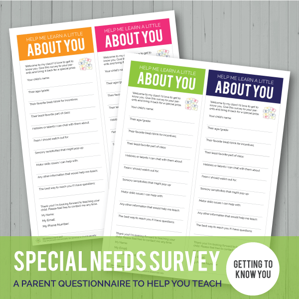 FREE: Get to Know You Survey for Special Needs Kids-Handouts-MeckMom