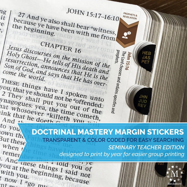 Doctrinal Mastery Margin Stickers - Seminary Teacher Edition - PRINTABLE-Stickers-MeckMom