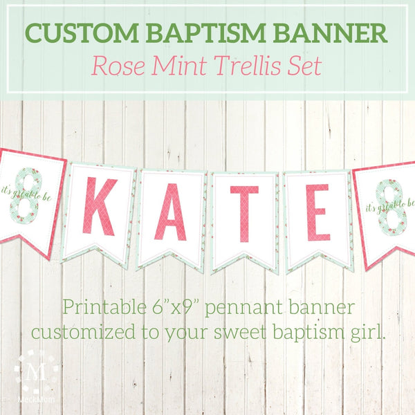 Personalized LDS Baptism Printable Pennant Banner - Rose Mint Trellis-Decorations-MeckMom