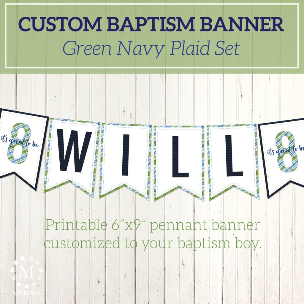 Personalized LDS Baptism Printable Pennant Banner - Green Blue Plaid-Decorations-MeckMom