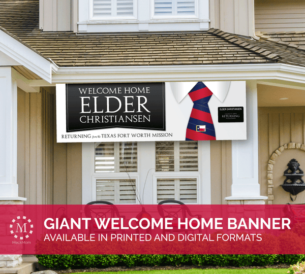 Missionary Welcome Home Banner: Horizontal Tie Design for Elders-Banner-MeckMom