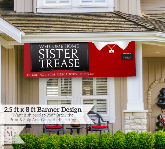 Missionary Welcome Home Banner: Horizontal Sweater Design for Sisters-Banner-MeckMom