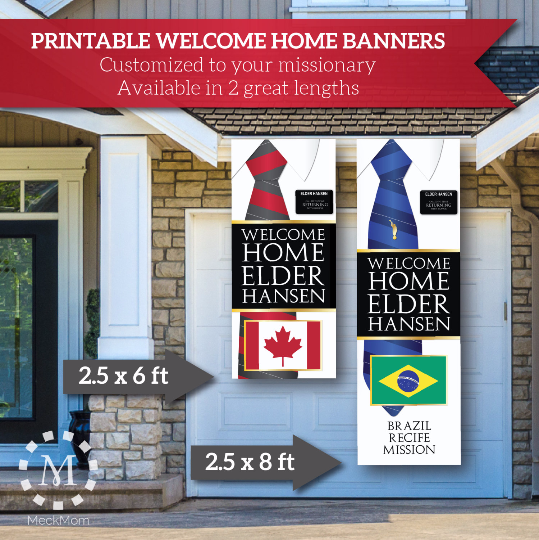 Elder Missionary Welcome Home Banner: Vertical Tie Design-Banner-MeckMom