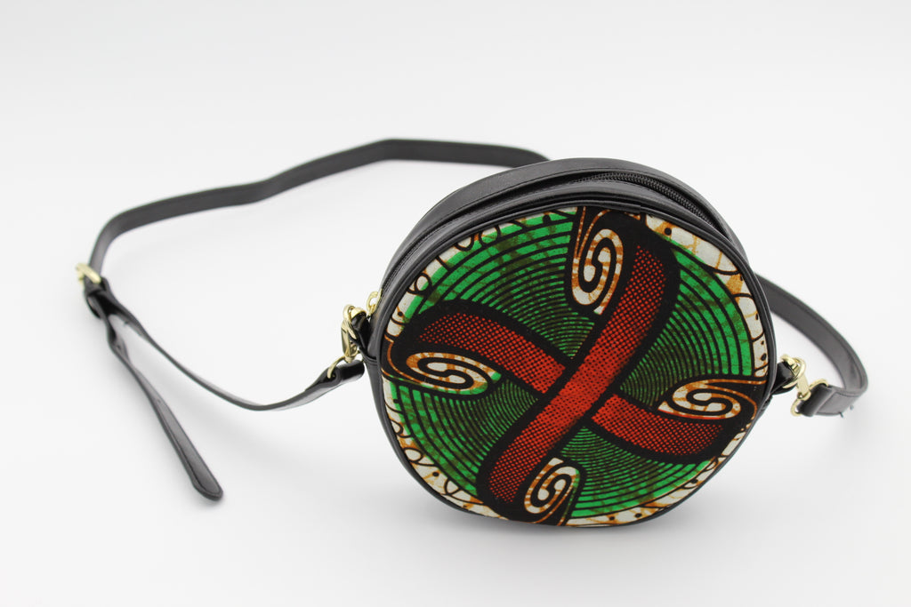 African Print Circle Cross Body Bag