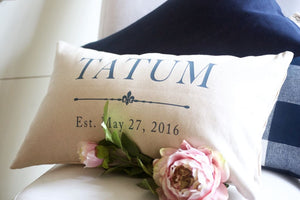Anniversary Pillow Wedding Gift 2Nd Cotton Slate Blue - Pillows - The Burlap Cottage®