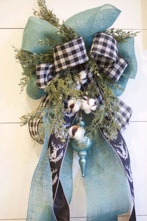 Blue Burlap Christmas Tree Topper - Christmas Tree Toppers - The Burlap Cottage®