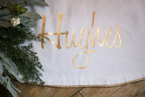Bright White Christmas Tree Skirt Gold Foil Fully Lined Luxurious 60 - Christmas Tree Skirt - The Burlap Cottage®