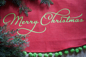 Christmas Tree Skirt Tree Skirt Farmhouse Decor Newlywed Gift Personalized Burlap Tree Skirt Pom Pom Monogram Name Whimsical - Christmas