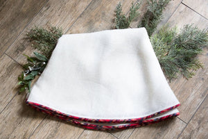Christmas Tree Skirt, Plaid, Creamy White Burlap, Tartan, Optional Personalization, Farmhouse Christmas, Fully Lined