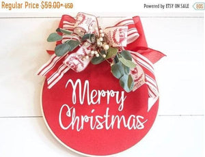 Christmas Wreath Hoop Wreath Christmas - Wreaths - The Burlap Cottage®