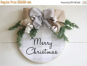 Christmas Wreath Hoop Wreath Farmhouse Decor - Wreaths - The Burlap Cottage®