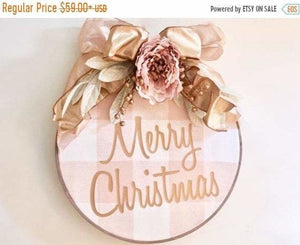 Farmhouse Christmas Wreath Millenial Pink Embroidery Hoop - Wreaths - The Burlap Cottage®