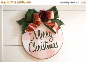 Farmhouse Christmas Wreath Millenial Pink Rose Gold Decor - Wreaths - The Burlap Cottage®