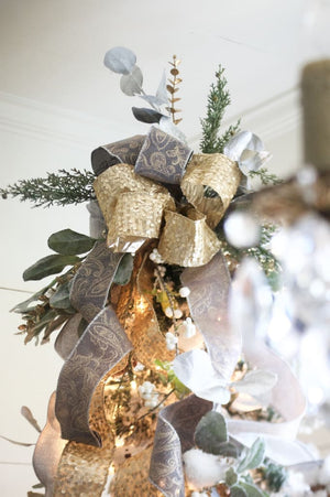 Free Shipping Christmas Tree Topper Farmhouse Christmas Gray And Gold Topper - Christmas Tree Toppers - The Burlap Cottage®