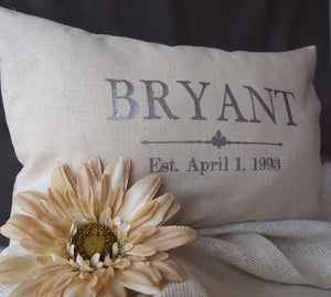 FREE SHIPPING | Silver Wedding Gift | 25th Wedding Anniversary Pillow Cover | Grain Sack Style Pillow | 2nd Anniversary | Cotton