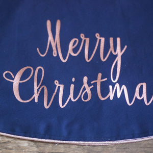 Navy Christmas Tree Skirt Rose Gold Fully Lined - Christmas Tree Skirt - The Burlap Cottage®