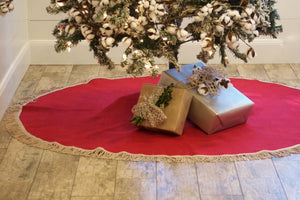"Red Christmas Tree Skirt, Fully Lined, 65"", Farmhouse, Large Red Burlap Tree Skirt, Personalized Christmas Tree Skirt"