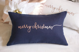 Rose Gold Decor Christmas Pillow - Wedding/Gift/Anniversary - The Burlap Cottage®