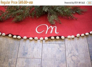 SALE Christmas Tree Skirt Red Tree Skirt - Christmas Tree Skirt - The Burlap Cottage®