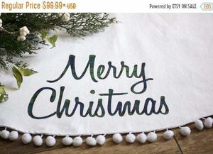 SALE Linen Christmas Tree Skirt Farmhouse Christmas - Christmas Tree Skirt - The Burlap Cottage®