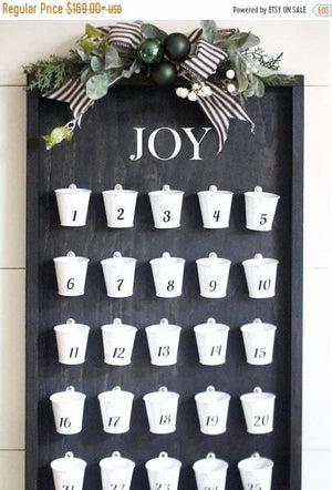 SALE ONLY 1 LEFT Black Wooden Advent Calendar - Advent Calendar - The Burlap Cottage®