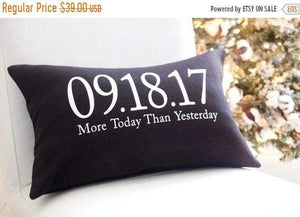 SALE Wedding Date Pillow Second Anniversary Gift - Wedding/Gift/Anniversary - The Burlap Cottage®