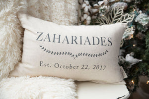 Second Anniversary Gift Cotton Laurel Leaves Grain Sack Pillow Cover 2Nd - Pillows - The Burlap Cottage®