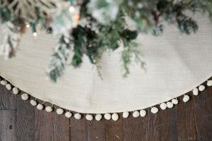 Unique Wedding Gift Linen Christmas Tree Skirt Fully Lined Personalized Gift - Christmas Tree Skirt - The Burlap Cottage®