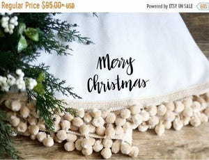 White Christmas Tree Skirt Modern Farmhouse Pom Pom Tree Skirt - Christmas Tree Skirt - The Burlap Cottage®