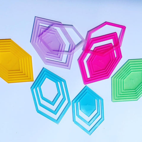 "Shades by Fab Shapes Elongated Hexagon Sets 1"" to 2"""
