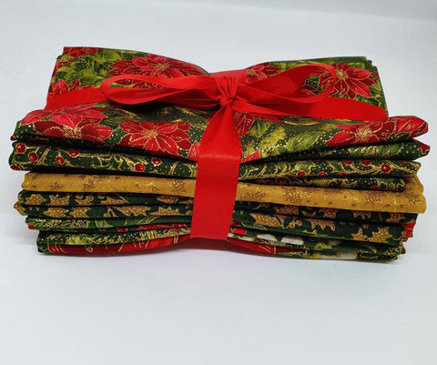 Poinsettias Metallic Fat Quarter Bundle